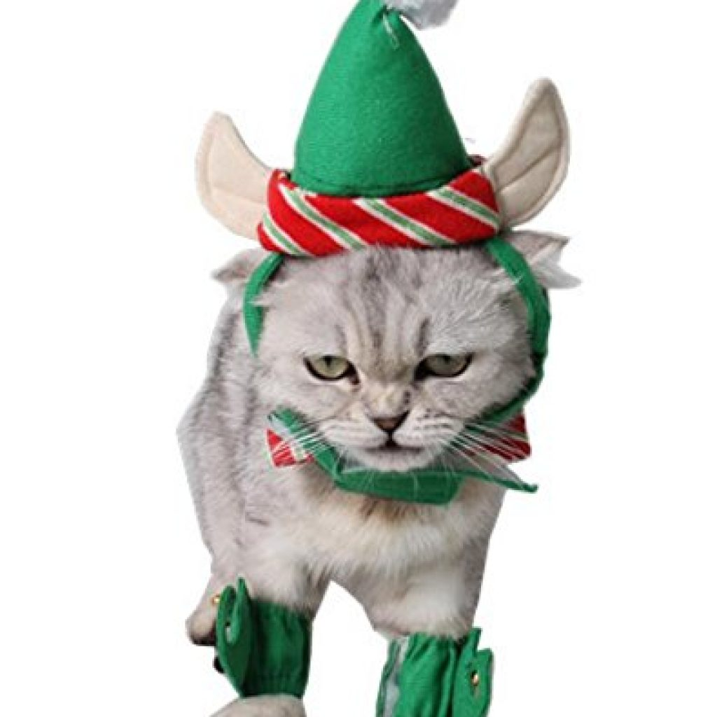 3822516dc ANIAC Cute Cat Dog Christmas Costume Xmas Clothes Green Elf Outfit for  Small Pets ...
